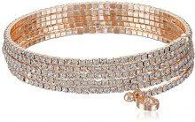 Anne Klein argentato a più fili con cristalli Flex, lunghezza 12cm, base metal, colore: Rose Gold, cod. 60377209-887