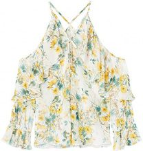 FIND Blusa con Motivo Floreale Donna, Multicolore (Yellow Mix), 46 (Taglia Produttore: Large)