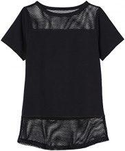 FIND T-Shirt Sportiva con Inserti in Mesh Donna, Nero (Black), 46 (Taglia Produttore: Large)