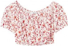 FIND Top Cropped Donna, Multicolore (Ivory/Orange Print), 46 (Taglia Produttore: Large)