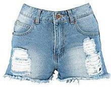 Pantaloncini corti Mandy in Denim con fondo sfilacciato e a vita media