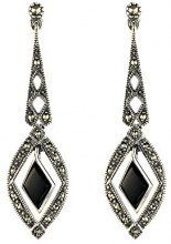 Esse Marcasite Donna 925 argento Triangolare nero Onice Marcasite FINEEARRING