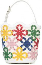 Sara Battaglia - Floral Bucket bag - women - Calf Leather/Brass - OS - WHITE