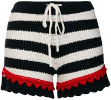 Pinko - Shorts a strisce 'Quinoa' - women - Cotone - XS - Blu