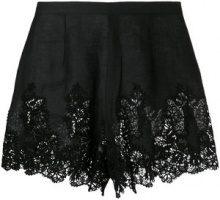 Ermanno Scervino - Shorts in pizzo - women - Linen/Flax/Cotone/Polyester - 44 - Nero