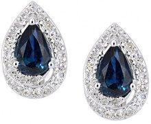 Naava Orecchini da Donna in Oro Bianco 9K con Zaffiro Blu e Diamante, Taglio Pera