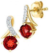 Naava Donna 9 carati oro giallo Rotonda rosso Granato Diamante