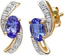 Naava Orecchini Pendenti da Donna, Oro Giallo, 9 Carati 375, Diamante