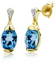 Miore - Orecchini a perno in oro giallo 9 kt con diamante e topazio blu, a forma di goccia