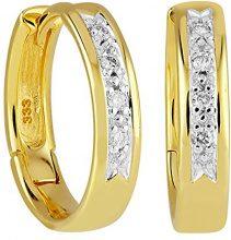 Bella Donna - Orecchini a cerchio con brillanti - oro giallo 333 parzialmente rodiato con diamante (0,08 ct) bianco taglio brillante - 119867