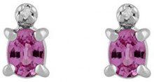 Ivy Gems-Pendente in oro bianco 9 carati, zaffiro rosa e diamanti, con orecchini a perno