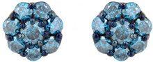 Jewelili Donna 9 carati oro bianco Rotonda blu Diamante