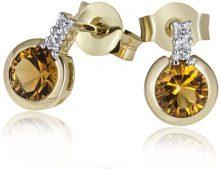 Goldmaid Orecchini da Donna Oro giallo Rotondo Diamante Giallo