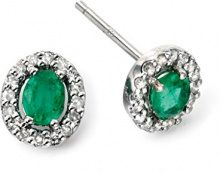 Elements Donna  9 cts (375)  Oro bianco Ovale   verde Smeraldo Diamante FINEEARRING