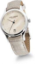 Lars Larsen Clara-Orologio da donna al quarzo Con quadrante in madreperla, Display analogico e cinturino in pelle bianco 139SMPL