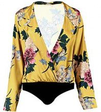 Jia Floral Long Sleeve Wrap Bodysuit