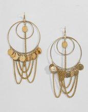 ASOS DESIGN - Appariscenti orecchini a cerchio con ciondolo a catenina e moneta - Oro