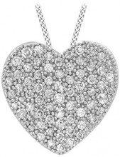 No Brand Collana da Donna, Oro Bianco, 18 K (750), Diamante, Rotonda