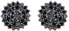 Jewelili Donna  9 carati  oro giallo Rotonda   nero Diamante