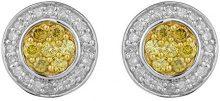 Jewelili Donna  9 carati  oro bianco Rotonda   giallo Diamante