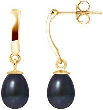 Pearls Colors &-Orecchini pendenti, in oro giallo 9 kt, con perla d'acqua dolce, AM-9BOC 136 P6J-BL