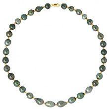 Pearls & Colors–Collana Multifilo–Oro Giallo 9kt con perla coltivata di Tahiti 42cm–am-9ct 199C8-mj