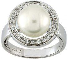 Miore 7 Vd009gnb-Anello da donna, oro bianco, 750/1000-5,8Gr, con Perle d'acqua dolce e diamanti, 7,3 0,22Ct, taglia 54