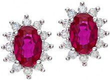Naava Orecchini a Perno da Donna, Oro Bianco, 9 Carati 375, Rubino/Diamante