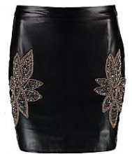 Esme Embellished Side Leather Look Mini Skirt