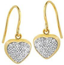 Diamond Line - Orecchini in oro giallo 375 26 ct parzialmente rodiato con 9 brillanti da 0,12 ct, colore: bianco