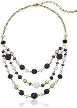 1928 Jewelry Orecchini color oro, bianco e nero, 3 fili, con perline in cristallo, lunghezza 40,64 cm (16