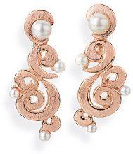 Drachenfels Design–Orecchini per donna perline argento rotgoldplattiert di rugiada bianco perla coltivata d' acqua dolce–D PET 22/RG