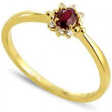 Tous mes bijoux Donna  9 carati  Oro giallo    G rosso Rubino Diamante FINERING, Oro giallo, 8, cod. BADM07017-0001