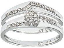 Naava Anello da Donna in Oro Bianco 9K con Diamante, Misura 11