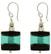 Amanti Venezia-Bracciale in vetro di Murano, colore: foglia di tè/nero-Orecchini con perle in vetro