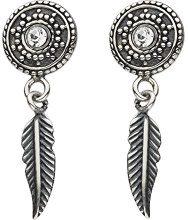 Dew 48348OX Orecchini a perno, a forma di disco circolare con mini piuma, in argento Sterling, ossidati e con zircone cubico