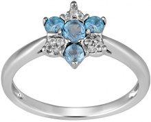Jewelili Donna  9 carati  oro bianco Rotonda   blu Topazio FASHIONRING