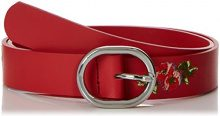 PIECES Pciviaya Leather Jeans Belt, Cintura Donna, Rosso (Flame Scarlet Flame Scarlet), 4 (Taglia Produttore: 80)