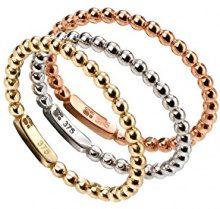 Elements - Set di 3anelli, da donna, in oro 9k, a palline di tre colori, larghezza: 0,15cm, tre ori, 54 (17.2), colore: Gold, cod. AZ-GR463 54