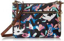 Fossil Damentasche? Fiona Ew Crossbody - Borse a tracolla Donna, Multicolore (Black Floral), 4.76x19.05x25.08 cm (B x H T)