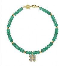 Dower & Hall Donna 9 carati oro giallo Rotonda verde Smeraldo Diamante FINENECKLACEBRACELETANKLET