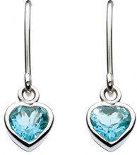 Dew - Orecchini pendenti a forma di cuore in argento sterling