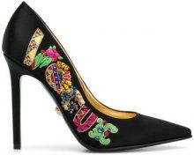 Versace - Pumps con logo decorato - women - Leather/Satin Ribbon - 36, 36.5, 37, 37.5, 38, 38.5, 39, 39.5, 40, 41 - BLACK