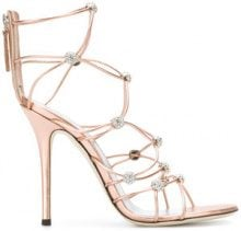 Giuseppe Zanotti Design - strappy crystal beaded heeled sandals - women - Calf Leather/Leather - 36, 37, 38.5, 39, 40 - METALLIC