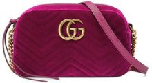 Gucci - GG Marmont velvet small shoulder bag - women - Velvet/Leather/Satin/metal - One Size - PINK & PURPLE