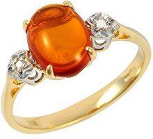 Ivy Gems-Pendente in oro giallo 9 kt, con diamanti e 1. ambra, misura N