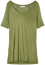 FIND T-Shirt Donna Lunga in Jersey Fiammato, Verde (Olive), 48 (Taglia Produttore: X-Large)
