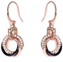 Stella Maris Diamante Orecchini da donna argento sterling 925dorato rosé Premium ceramica nero zirconi–STM15J008
