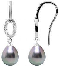 Pearls & Colors Orecchini a pendolo e goccia Donna - AM18-BOAG-907-P8-TAH