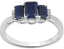 Jewelili Donna 9 carati oro bianco smeraldo blu Zaffiro Topazio FASHIONRING
